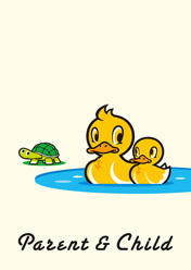 Family duck and turtle / アヒル の親子と亀